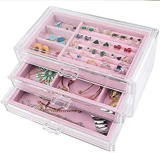 Tasybox Clear Jewelry Box Organizer 3 Drawers Velvet Jewellery Boxes Acrylic Ring Earring Necklace Bracelet Holder Display Case Gift for Women Girls Men (Pink)