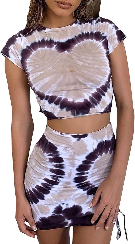 2Pcs Women Mini Skirt Set Cami Crop Top High-Waist Slit Bodycon Skirt Y2K Summer Outfit Streetwear