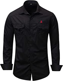 Escalier Men's Cotton Long Sleeve Military Button Down Shirts Cargo Work Shirt