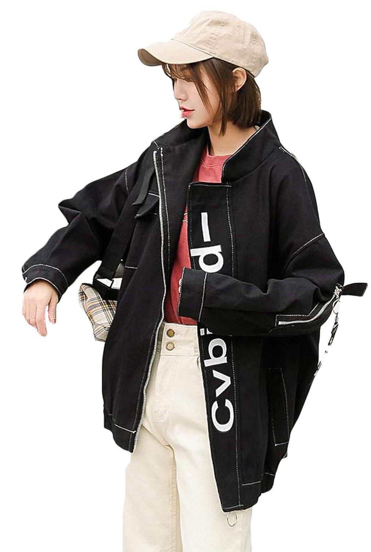 MLbossアウター レディース 長袖 ゆったり ジャケット ストリート系 春服 ジャンパー 白 黒