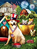 DIY 5Dダイヤモンドペインティングキット16インチ x 20インチ動物の犬と猫 丸い形フルドリルクリスタルラインストーン刺繡クロスステッチアートクラフトキャンバス家の壁の装飾大人と子供のための