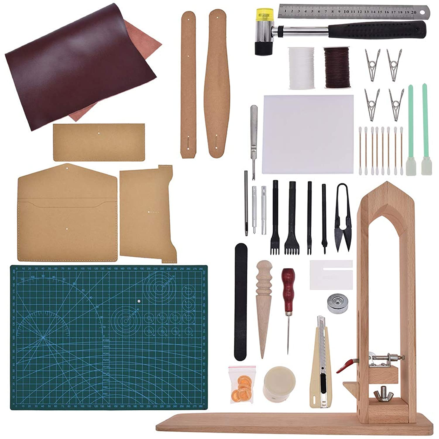 CHZIMADE 44pcs Leather Working Tools Leathercraft with Leather Stamping Tools, Cutting Mat, Stitching Groover, Prong Punch, Snaps and Rivets Kit, Leather Tooling Kit for DIY (Leather Tools-F)