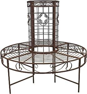 Selections - Banco Circular para jardín (Metal), Color marrón