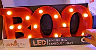Pumpkin Hollow Halloween Boo Marquee Sign Orange Light Up LED Lights Window Shelf Tabletop Decoration