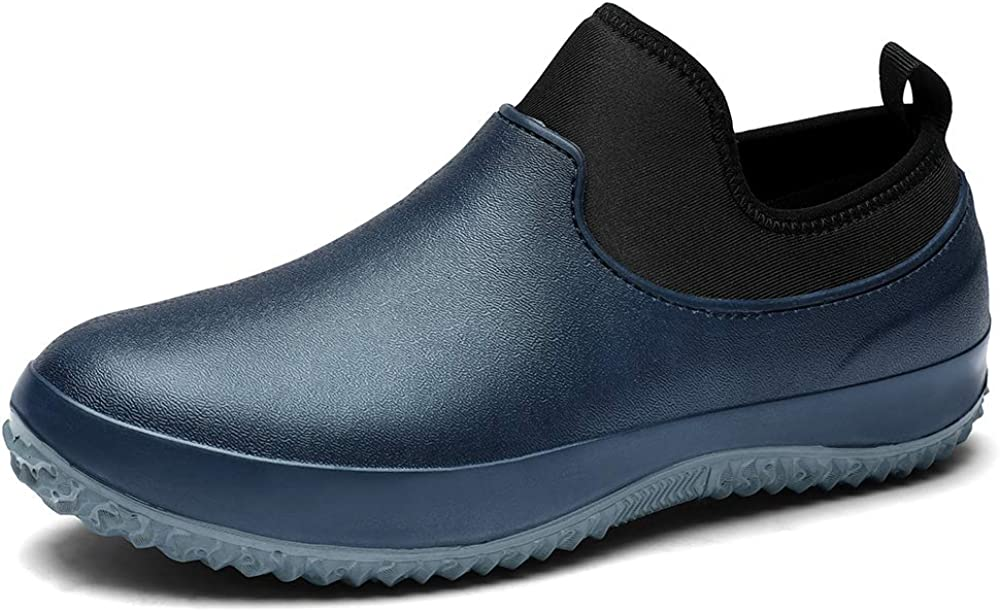 yuelvda Chef Shoes Safety Garden Shoes Kitchen Special Shoes Waterproof Non Slip Water Shoes Rain Boots Men and Women Catering Black Green Blue Sneakers Work Clogs