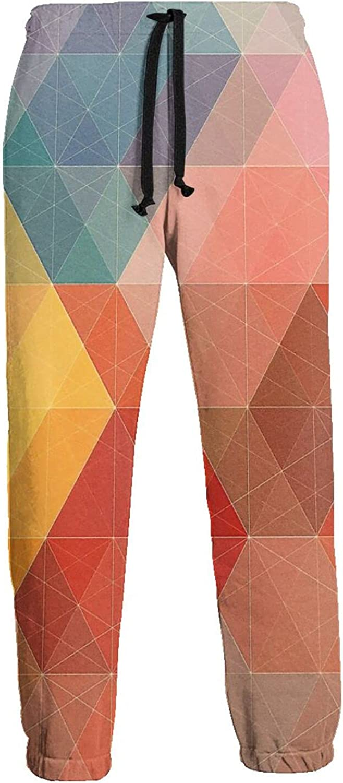 Mens Jogger Sweatpants Orange Geometric Lightweight Workout Athletic Joggers Pants Trousers