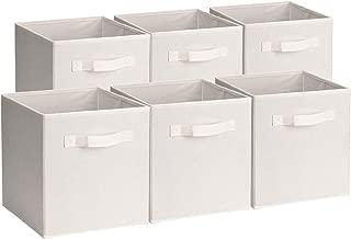 Umi. by Amazon - Cajas de almacenamiento de tela plegables, juego de 6 cubos organizadores, caja de almacenaje de ropa juguetes, beige, 26,7 x 26,7 x 27,9 cm