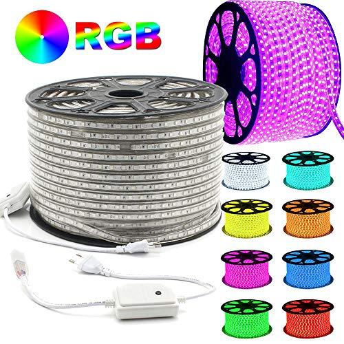 GreenSun LED Lighting 50m RGB Strip Light Flexible Tube étanche 5050SMD Lumière de fée Lights/Bande Stripe pour chambre à coucher, centres commerciaux, décor de Noël [Classe énergétique A +]