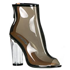 e568824d1a81 CAPE ROBBIN Benny-1 Womens Perspex Peep Toe Ankle Boots