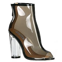 88023c2cbbc CAPE ROBBIN Benny-1 Womens Perspex Peep Toe Ankle Boots