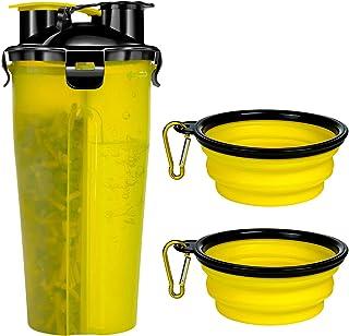 Czemo Bottiglia d'Acqua e Cibo per Cane Bottiglia Viaggio Portatile con 2 Pieghevole Ciotola per Cani (Giallo)