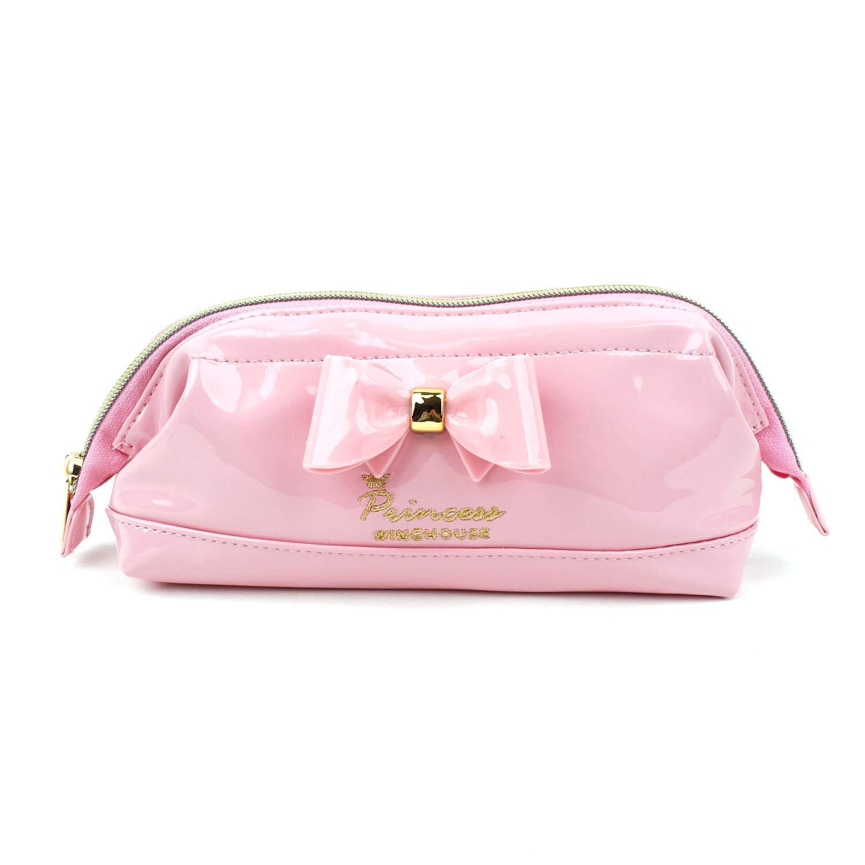 WINGHOUSE 粉红闪亮丝带铅笔筒化妆品收纳盒小袋盒适合女装