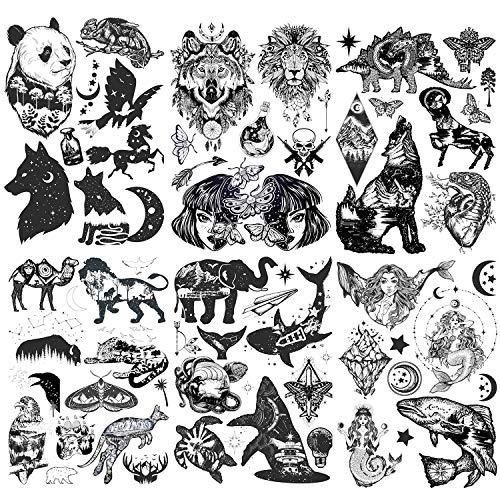 Konsait 6 Blätter Groß Schwarz Temporäre Tätowierung Aufkleber für Erwachsene Männer Frauen Tier Wolf Tiger Löwe Schädel Schmetterling Drache Schwarz Tattoo Aufkleber Body Art Fake Arm Tattoos Sticker