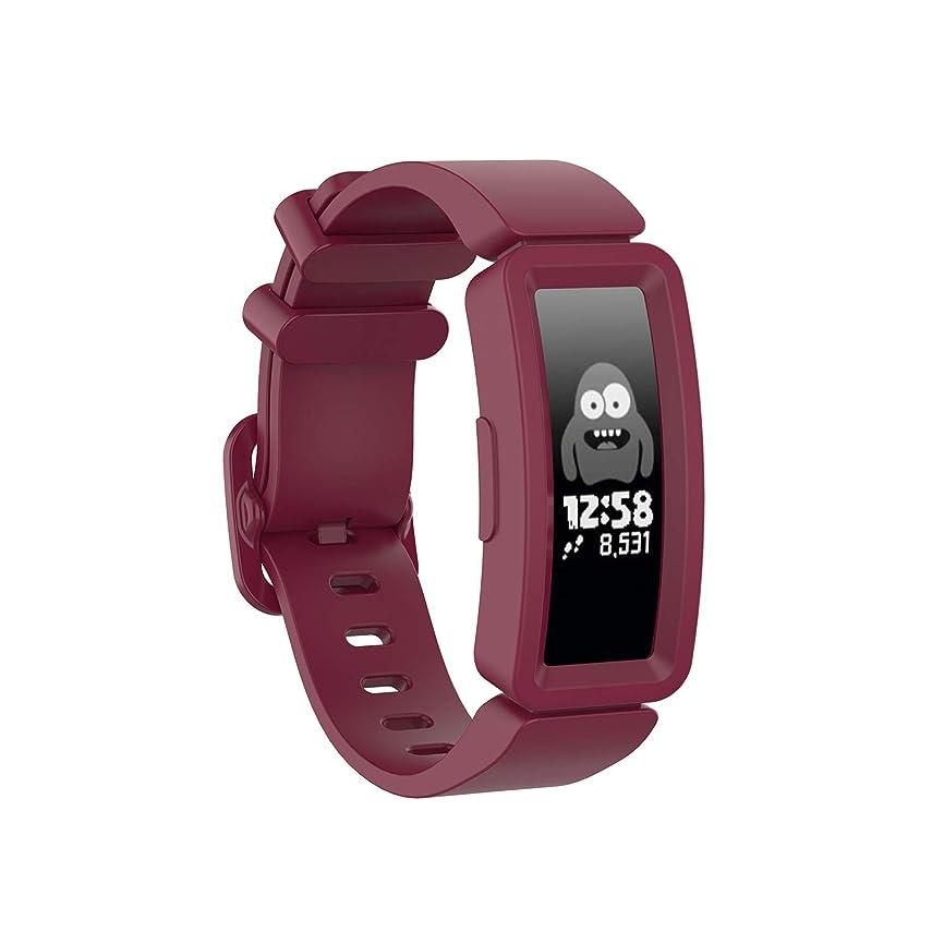 コットンリーン稚魚XIHAMA For Fitbit Ace 2 シリコンバンド お子様向け 超軽量 ストラップ Fitbit Inspire/Inspire HR対応 レディース用 多色選択 防水 (ワインレッド)