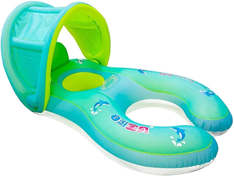 buena calidad QHWJ Anillo de la natación del bebé, Flotador Flotador Flotador Interactivo Inflable del Doble del Anillo de la natación del Padre-Niño con los Juguetes inflables de la Piscina del toldo  barato en alta calidad