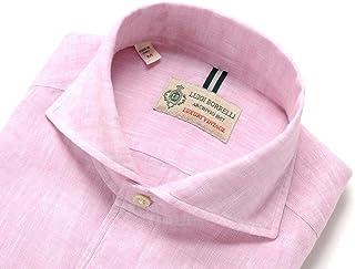 ルイジボレッリ ルイジボレリ LUIGI BORRELLI / 20SS!製品洗いリネンポプリン無地イタリアンカラーシャツ「VESUVIO(9129)」 (ピンク) メンズ