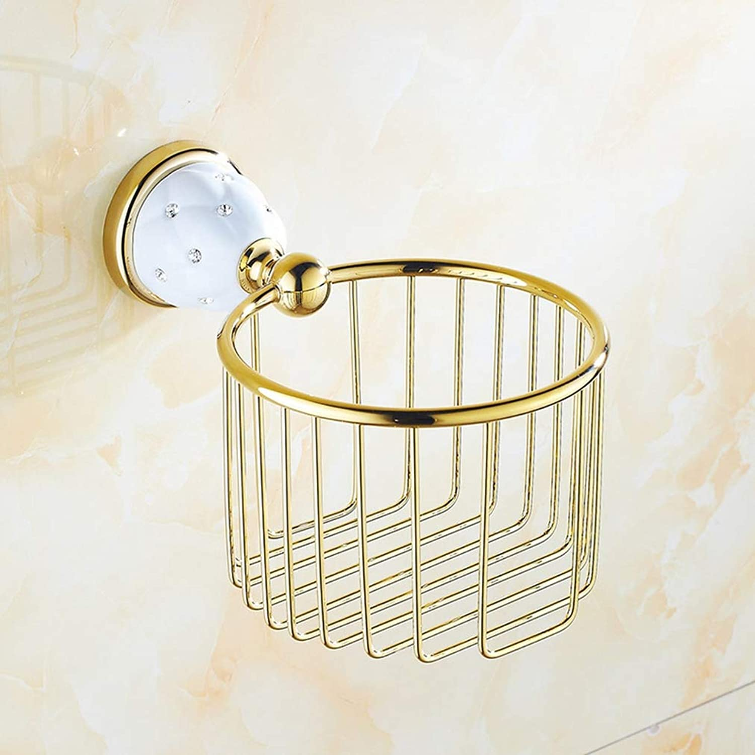 LUDSUY Bathroom Shelf Diamond gold Chrome Wall-Mounted Toilet Paper Holder Bathroom Basket Bathroom Accessories,A
