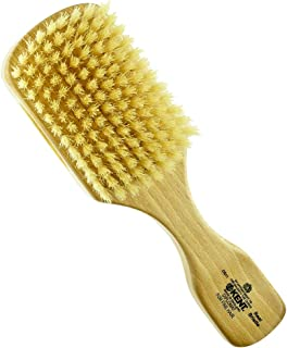 Kent OS11 Dual Timber Rectangular Club Hair Brush. Beautiful Satin and Beech Wood Base, with Ultra Soft, Pure White, Natural Boar Bristle. Ideal For Men With Fine or Thinning Hair, Sensitive Scalps