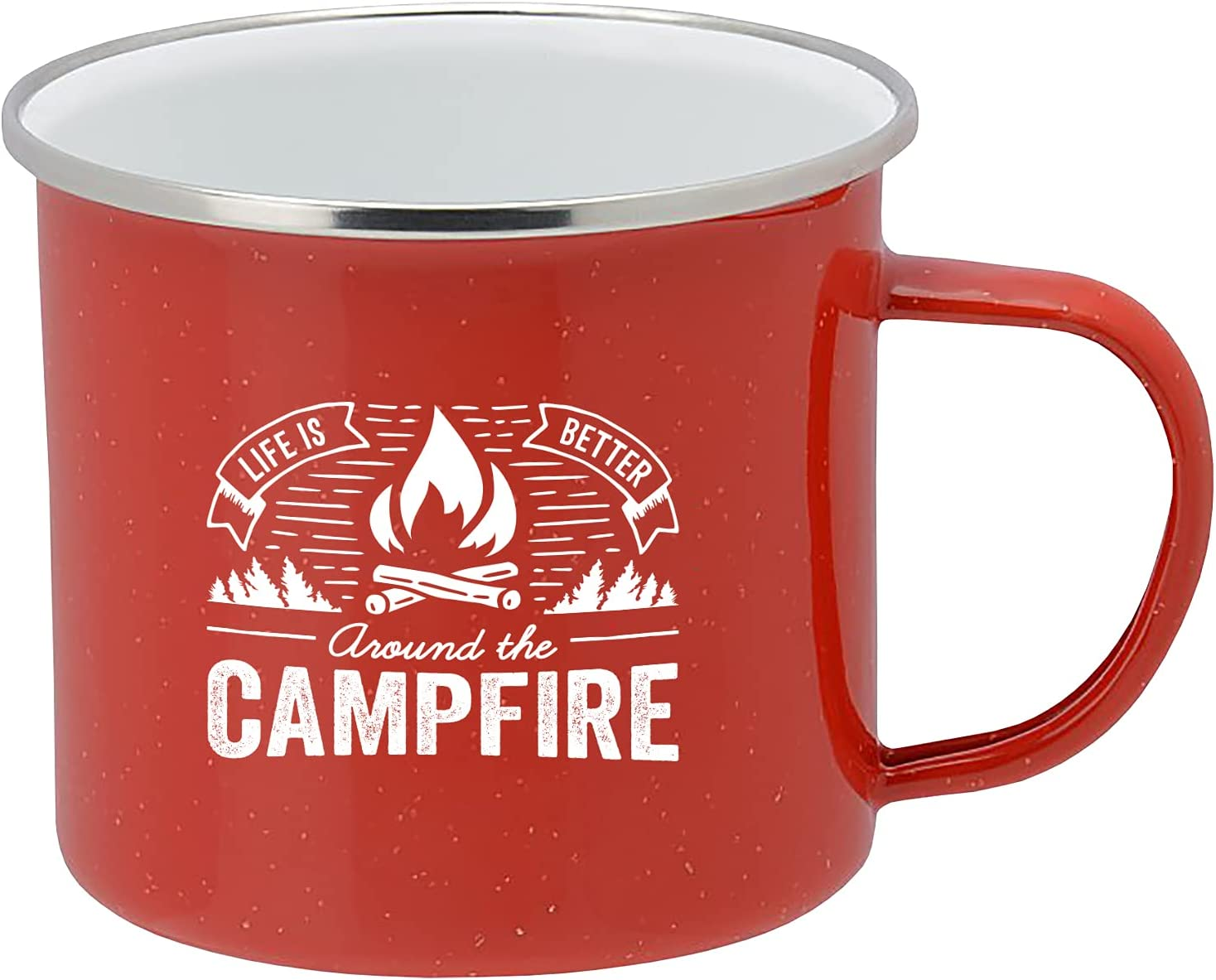 Life is Better Around the National products Campfire Coffee Mug Enamel Tin Camping Large-scale sale