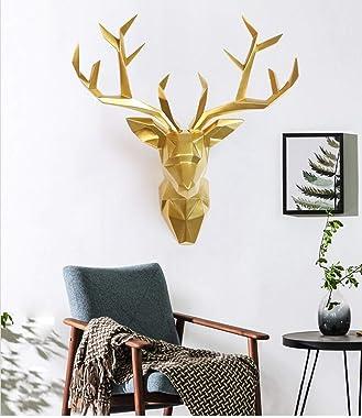YJ Home Deer Head Wall Art - Geometrial Deer Head Sculpture Home Decor (Gold, XL)