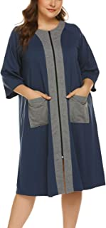 IN'VOLAND Womens Plus Size Zipper Robe Half Sleeve Loungewear Full Length Nightgown Duster Housecoat with Pockets (16W-24W)