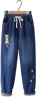 [モリマート]Morimart レディース 森ガール 猫 刺繍 デニムパンツ コーデ 秋冬 ロングパンツ ジーパン リボン ゴムウエスト 学生 かわいい