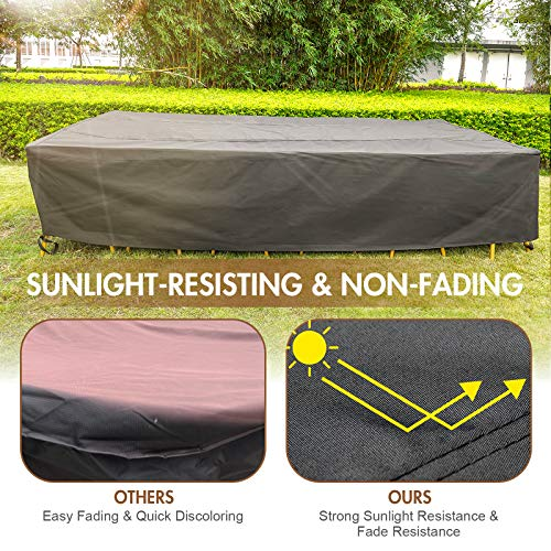 137 Inch Patio Furniture Cover for Outdoor Snow Protection Waterproof Patio Table Chair Cover Rectangular UV Resistant Durable Sectional Sofa Protective Cover (137