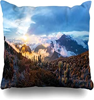 Ahawoso Throw Pillow Cover Square 20x20 Sunshine Volcano Tolima from Los Nevados Cloud National Trip Mounts Fog Park Nature South Andean Zippered Cushion Case Decorative Pillowcase Home Decor