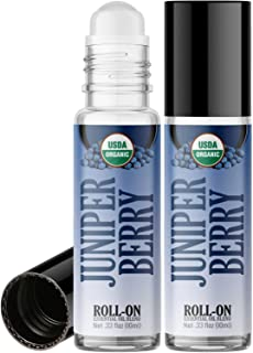 Organic Juniper Berry Roll On Essential Oil Rollerball (2 Pack - USDA Certified Organic) Pre-diluted with Glass Roller Bal...