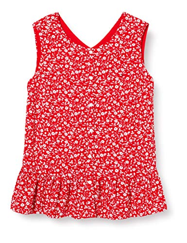 Tommy Hilfiger Floral Top Slvls Camisa de Deporte, Rojo (Deep Crimson/Flower Print 0kp), 11-12 años (Talla del Fabricante: 12) para Niñas