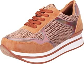 Cambridge Select Women's Lace-Up Retro 90s Iridescent Hologram Glitter Chunky Platform Fashion Sneaker
