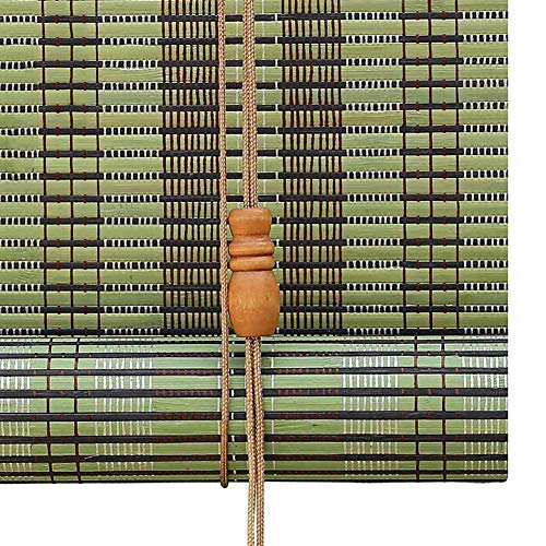 ROLLER BLINDS ZLI Green Natural Bamboo Roll Up Window Blind - Outdoor Patio Gazebo Pergola Carport Blackout Shade, 60/80/90/100/120/140 cm Wide (Size : W 140×H 160cm)