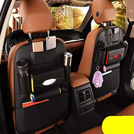 2 Pack PU Leather Premium Car SeatBack Organizer Travel Accessories Car Seat Back Organizer Seat Protector Kick mats Back seat Protector and Cup Holder Holder Universal Use Seat Covers 2Pack Black
