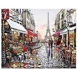 N/O Pintura por números para Adultos Niños DIY Pintura al óleo Kit Calle Paris 40 x 50cm con Marco Lienzo Pintura Arte Decoraciones para el hogar Regalos