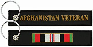 Afghanistan Campaign Ribbon / Veteran - Embroidered Key Chain Fob