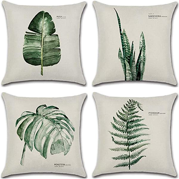 WOLUNWO Throw Pillow Covers 18 X 18 Square Set Of 4 Green Plant Leaf Series Couch Decorative Pillow Cases Cotton Linen For Car Sofa Bedroom And Home Leaf