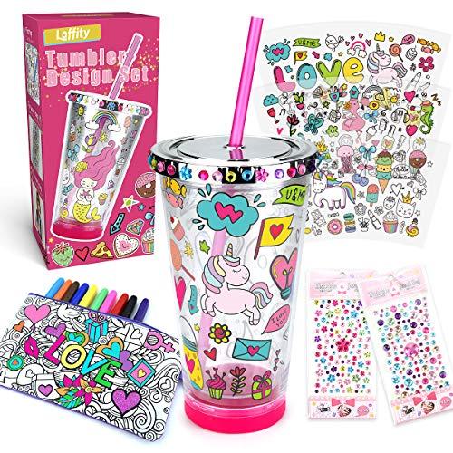 Laffity Geschenke für Mädchen - Basteln Wasserflasche-Set Adventskalender Mädchen Adventskalender zum Befüllen, Bastelset Kinder, Trinkbecher mit Strohhalm, Teenager Mädchen Geschenke 6-15 Jahre