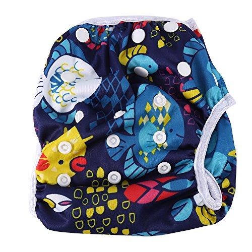 Baby-Schwimmwindel modische atmungsaktive Unisex Schwimmwindeln wiederverwendbare wasserdichte Schwimmhose mit Druckknöpfen Trainingshose für 3-15 kg Baby (DY3)