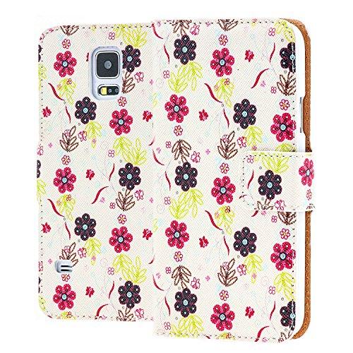 Preisvergleich Produktbild Saxonia Tasche Samsung Galaxy S5 Mini Hülle Flip Case Schutzhülle Handytasche mit Kartenfach Motiv Blüten Schwarz / Rot