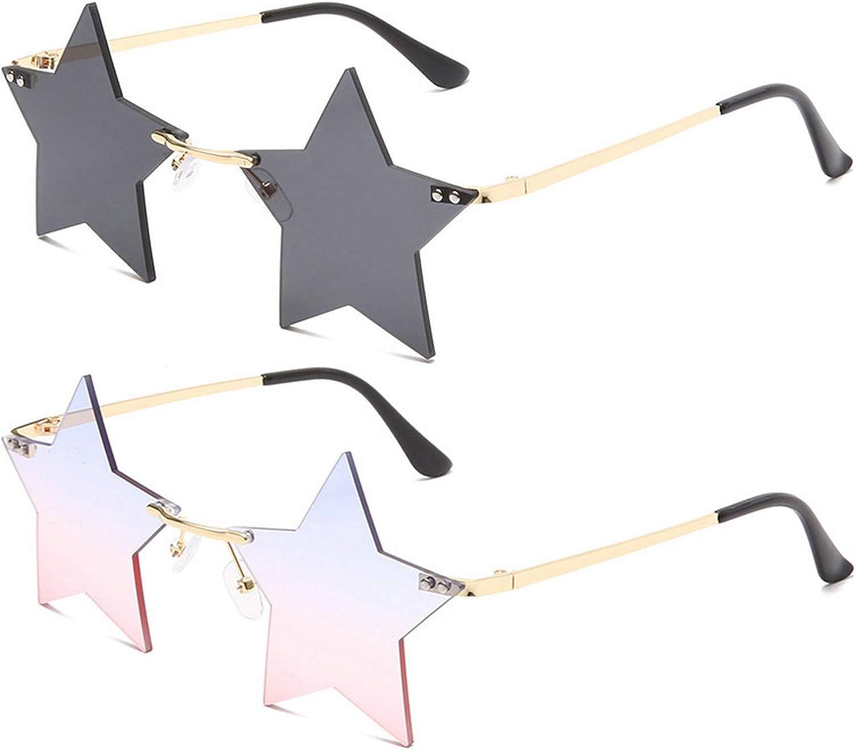 MINCL Super Cute Star Shape Metal Nashville-Davidson Mall Trans Rimless trend rank Frame Sunglasses