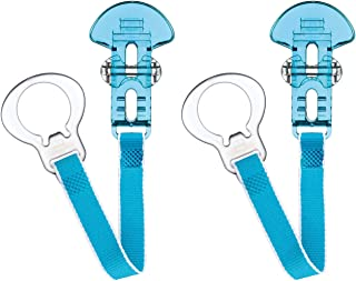 MAM Soother Clips, Pack of 2, Baby Soother Chain Fits All MAM Soothers, Newborn Essentials, Blue with Blue Strap (Soothers...
