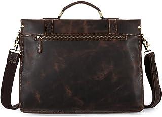 Men's Accessories 14 Inch Laptop Shoulder Bag Messenger Handbag,Men's Dark Brown Leather Business Briefcase Outdoor Recreation