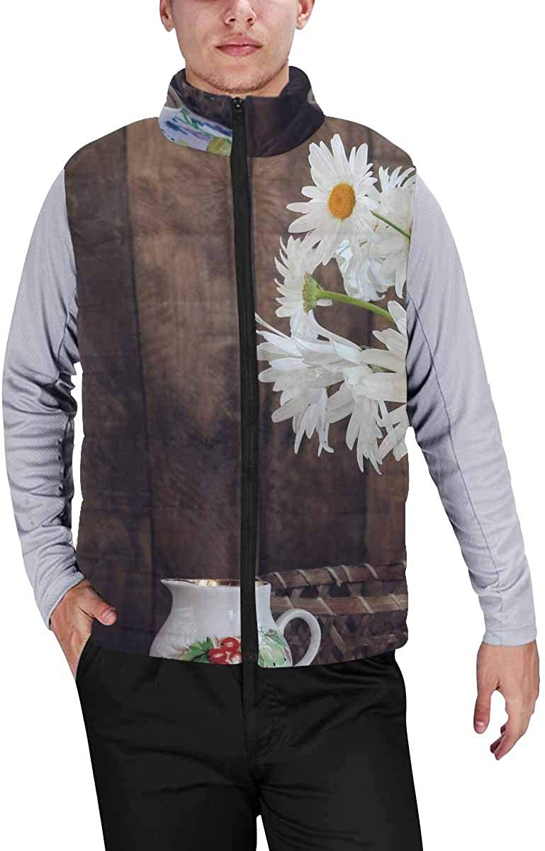 InterestPrint Men's Winter Full-Zip Outwear Padded Vest Coats Colorful Watercolor Drops