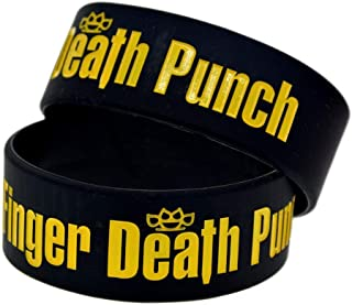 Dixinla Sports Wristbands Fashion Bracelet Silicone Five Finger Death Punch 1-inch Wrist Band Creative Gift Set of 2 Pieces