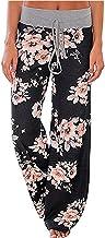 HOTINS Women's Pajamas Comfy Pajama Lounge Pants Floral Print Drawstring Loose Leg Palazzo Pants