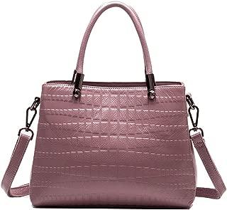 ETH Simple Multi-Function Large Capacity Shoulder Bag Shoulder Slung Leather Handbag Permanent (Color : Purple)