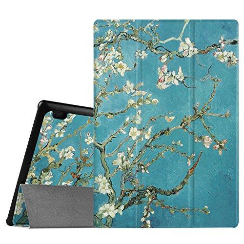 Fintie Hülle Hülle für Lenovo Tab 3 10 Plus/Tab 3 10 Business/Tab 2 A10 - Folio Kunstleder Schutzhülle Tasche Etui für Lenovo Tab 10 / Tab 2 A10-30 10,1 Zoll Tablet, Mandelblüten