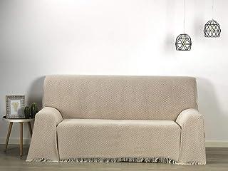HIPERMANTA Colcha Foulard Multiusos Rombos Altea para sofá y para Cama, Algodón-Poliéster, 180x260 cms. Visón