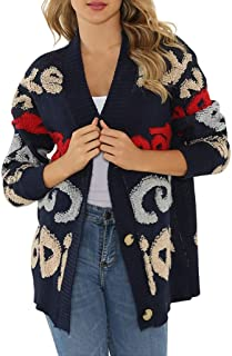 Women Outerwear Woman Casual Knitted Sweater Button Cover Up Cardigan Jacket Loose V-Neck Long Sleeve