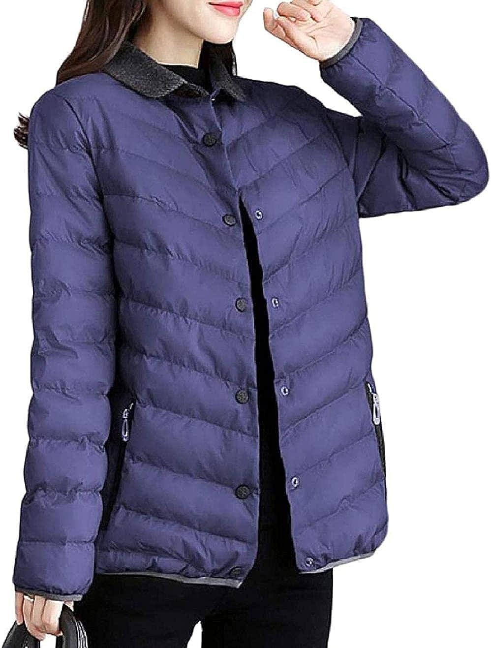 Women Top Classic Coat Quilted Winter Puffer Zip-Up Warm Anorak Jacket